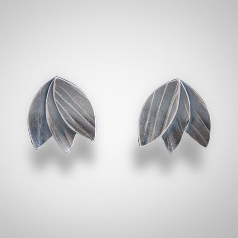 Molly Dingledine leaf fan silver small post earrings