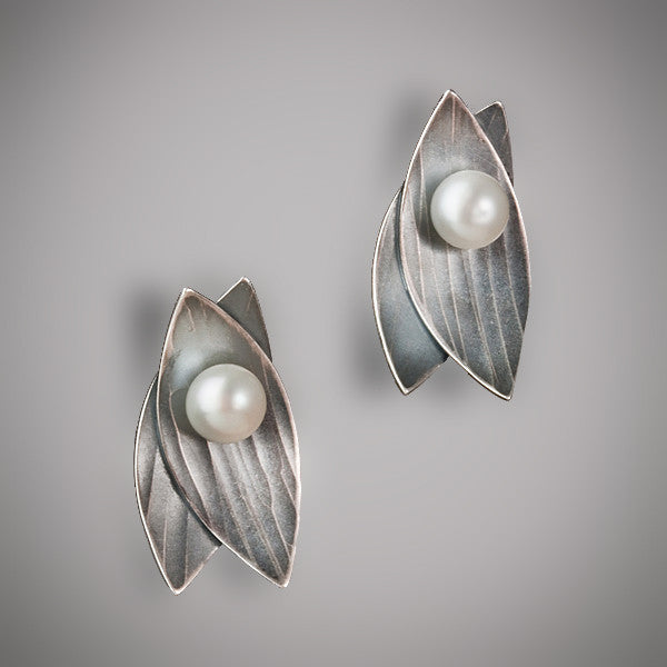 Molly Dingledine double leaf silver and pearl small post earrings