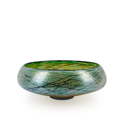 Handcrafted art glass low Lustre bowl by David Lindsay