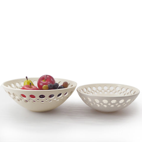 Porcelain half lattice fruit bowls