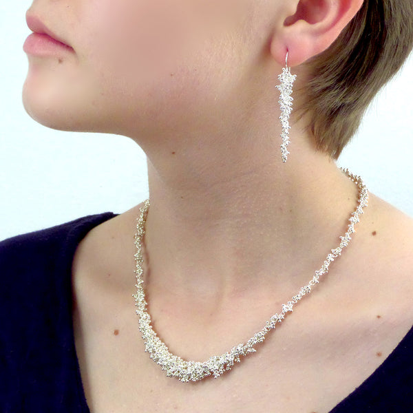 Magally Deveau silver granulation bridal necklace