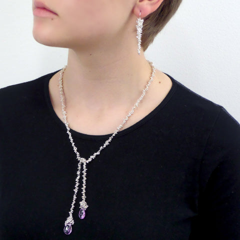Magally Deveau silver lariat granulation necklace with amethyst gemstones