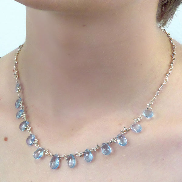 Magally Deveau silver and blue topaz crochet necklace