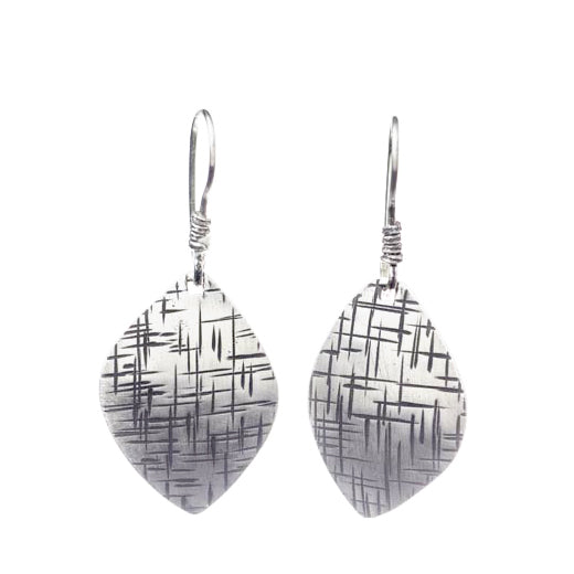 Martha Sullivan crosshatched textured silver leaf earrings