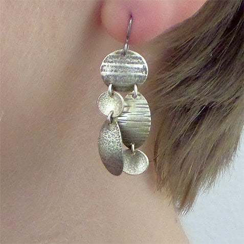 Martha Sullivan chain-linked 5-disc textured silver mosaic earrings