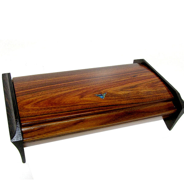 Mikutowski handcrafted desktop box in exotic wood with shell inlay