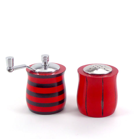 Modern salt and pepper set in bold black and red stripes