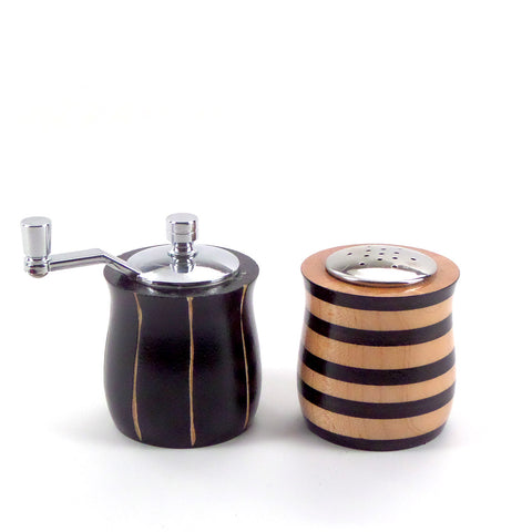 Modern salt and pepper set in bold black and tan stripes