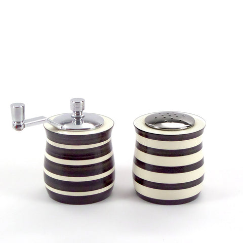 Modern salt and pepper set in bold black and white stripes