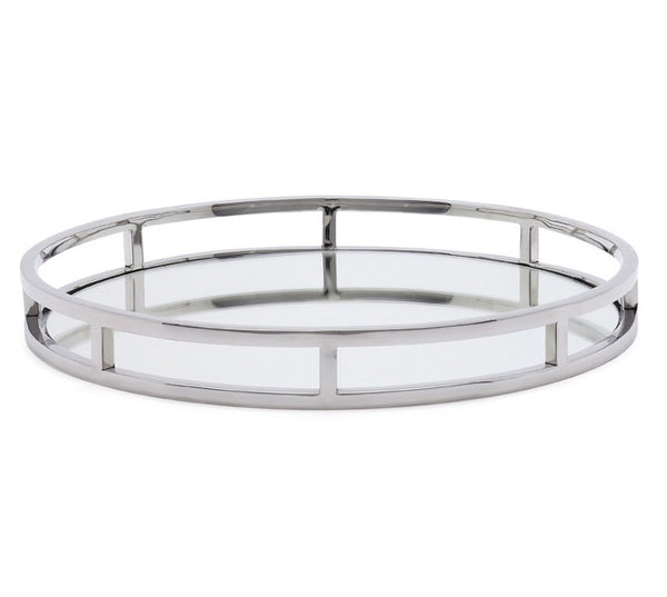 Round mirror bar tray with chrome railing