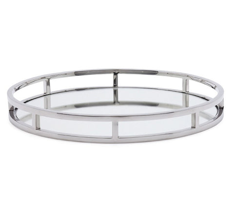 Round mirror tray with chrome railing