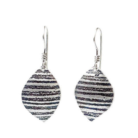 Martha Sullivan ridged textured silver leaf earrings