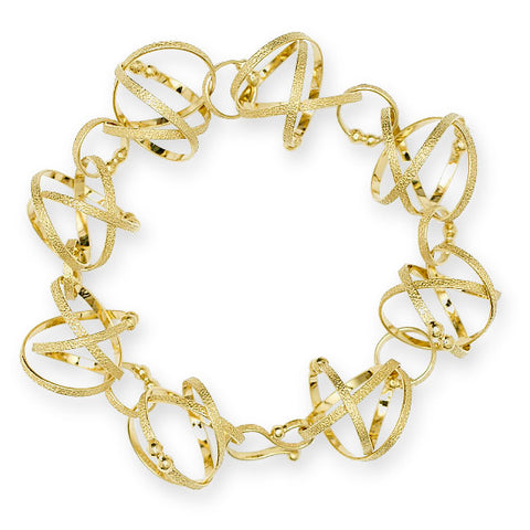 Kathleen Maley silver and gold vermeil small Mobius charms bracelet
