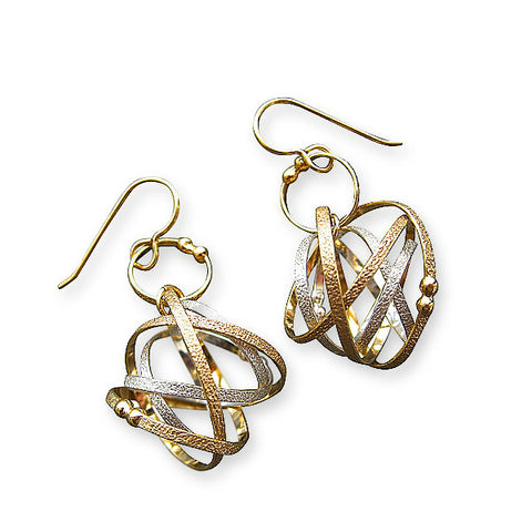 Kathleen Maley silver and gold vermeil Mobius charm drop loop earrings