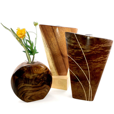 Modern wood vase with glass tube insert