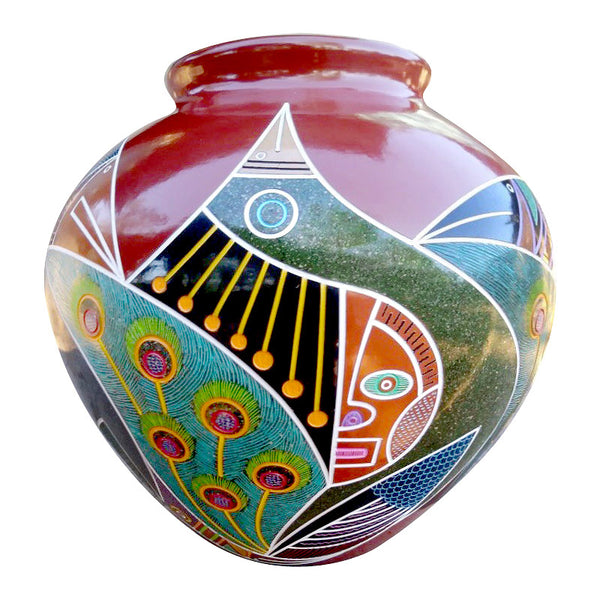 Colorful modern graphic etched ceramic vessel, tall round