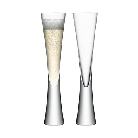 Solid curved stem champagne flutes, set of 2
