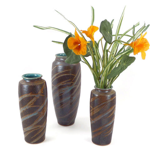 Classic stoneware vases with grass design