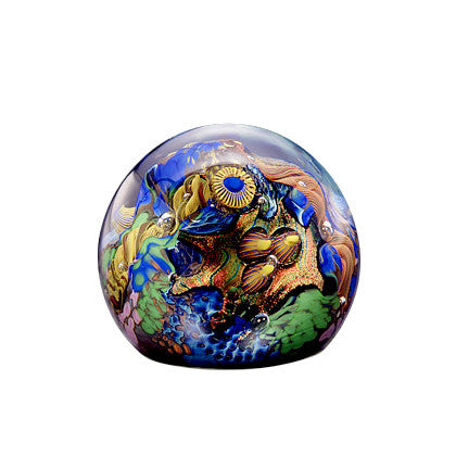 Handcrafted art glass round paperweight by David Lindsay