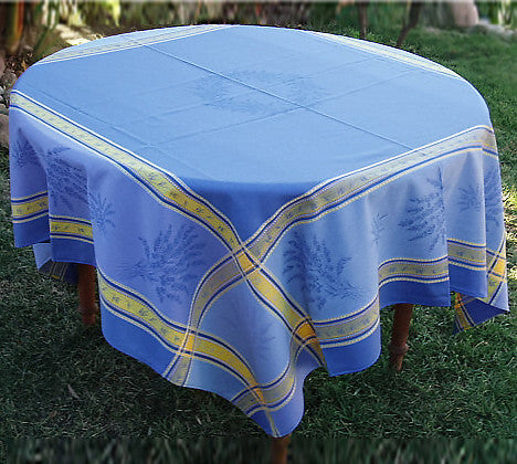 Classic French jacquard linens in blue