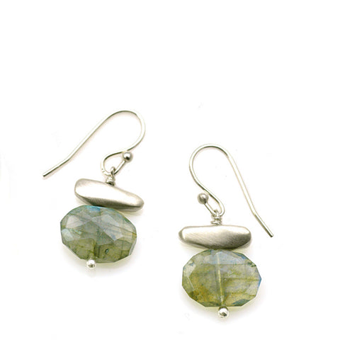 Philippa Roberts faceted labradorite and silver pebbles earrings