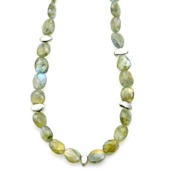 Philippa Roberts faceted labradorite and silver pebbles necklace