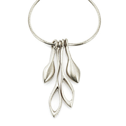 Philippa Roberts silver necklace with open and closed leaves
