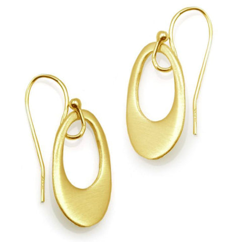 Philippa Roberts small open oval silver or gold vermeil earrings