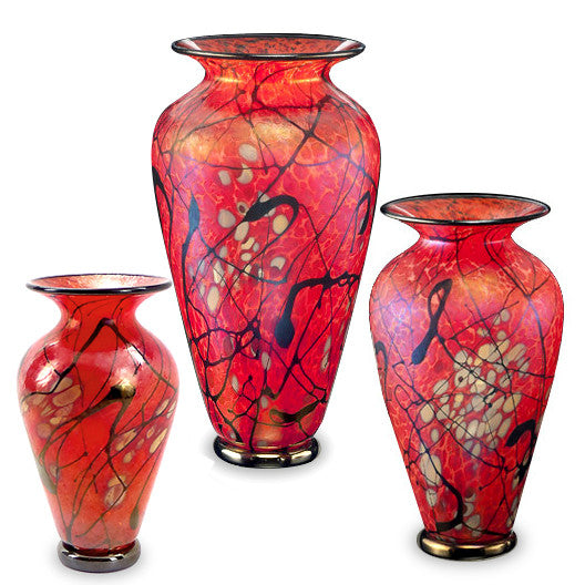 Handcrafted art glass Phoenix vases by David Lindsay