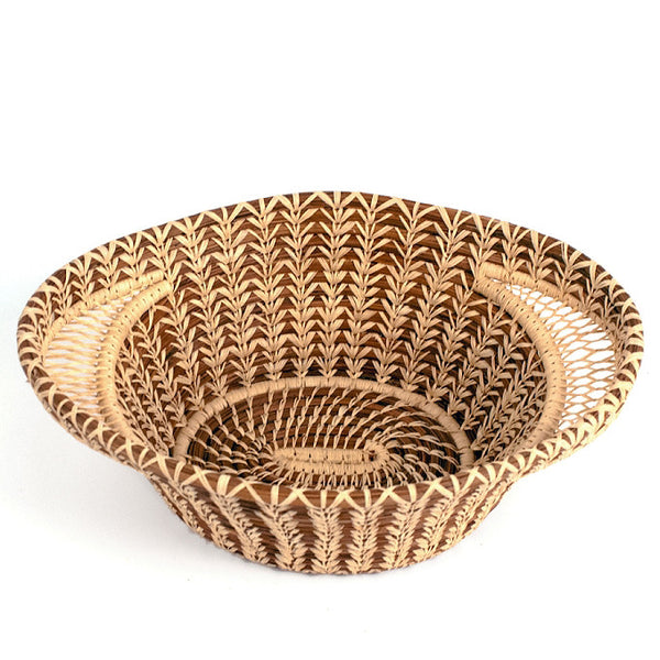 Lacy woven pine needle basket with handles