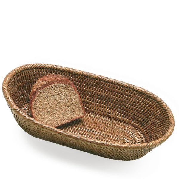 Woven rattan long oval basket with rolled edge