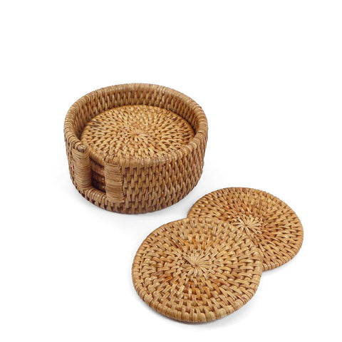 Woven rattan round coasters with holder, set of 6