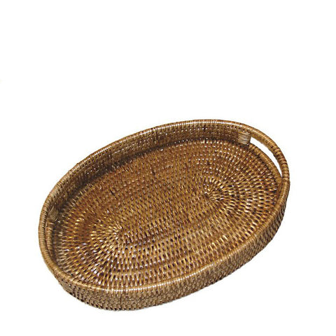 Woven rattan small oval tray with cutout handles