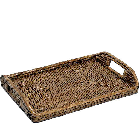 Woven rattan medium rectangular tray with cutout handles