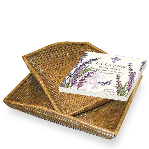 Woven rattan flat square baskets