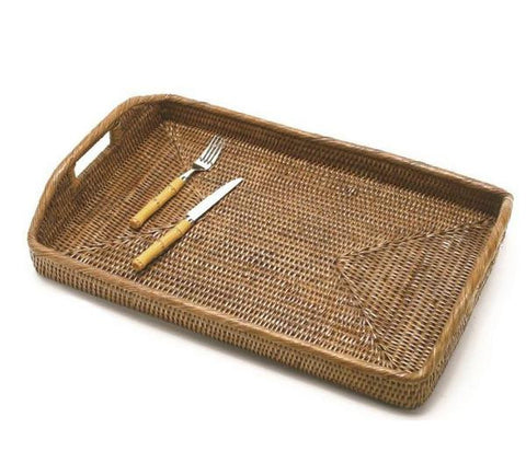 Woven rattan large rectangular tray with cutout handles