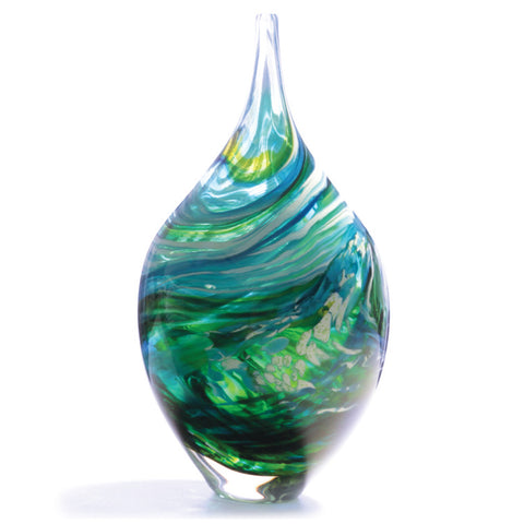Hand-blown teardrop Merge vase by Richard Glass