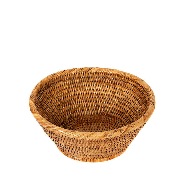 Woven rattan oval basket with rolled edge