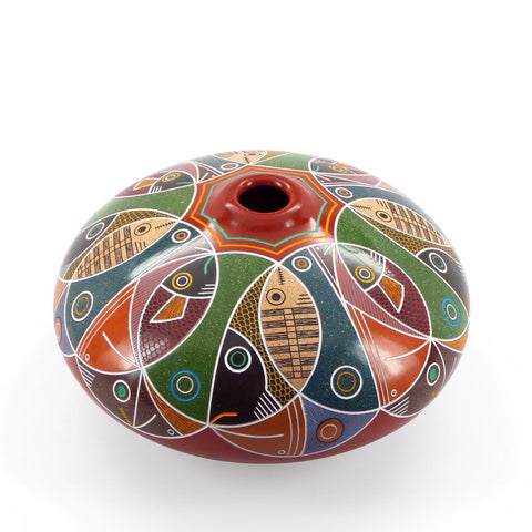Colorful modern graphic etched ceramic vessel, round