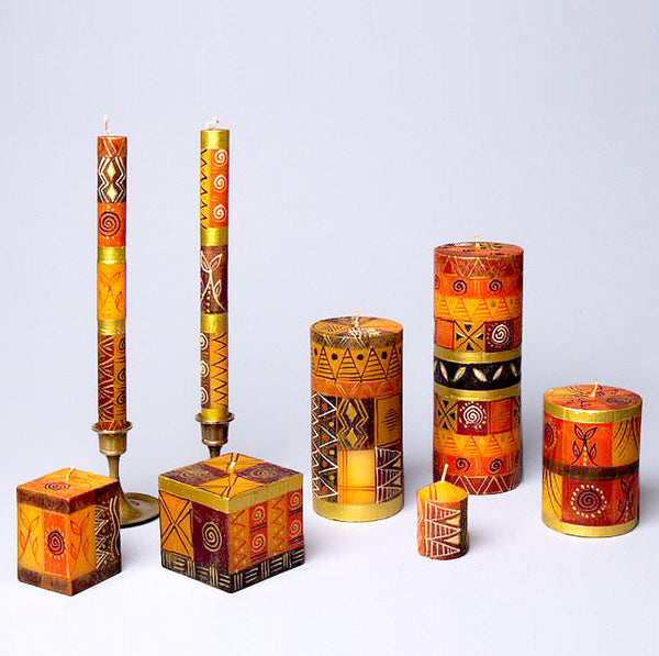South African Safari Gold hand-painted dripless candles
