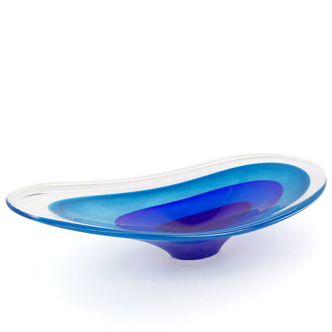 Modern oval centerpiece glass bowl in blues by Richard Glass