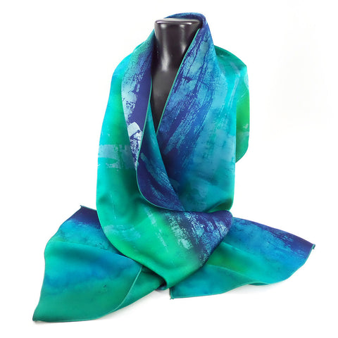 Hand-painted abstract art silk scarf