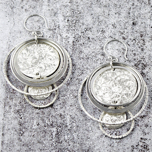 Amy Torello textured discs and rings silver or gold vermeil earrings