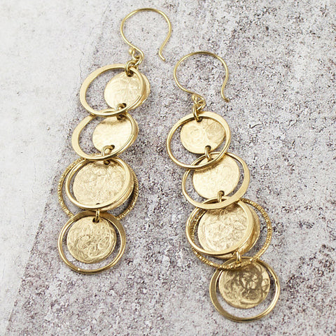 Amy Torello textured discs and rings silver or gold vermeil long earrings