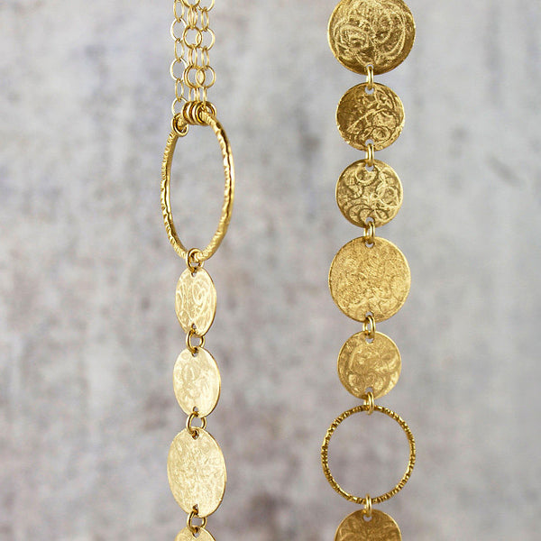 Amy Torello textured discs and rings silver or gold vermeil long necklace
