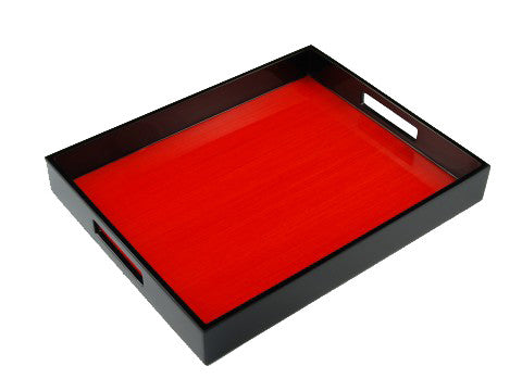 Lacquered wood serving trays