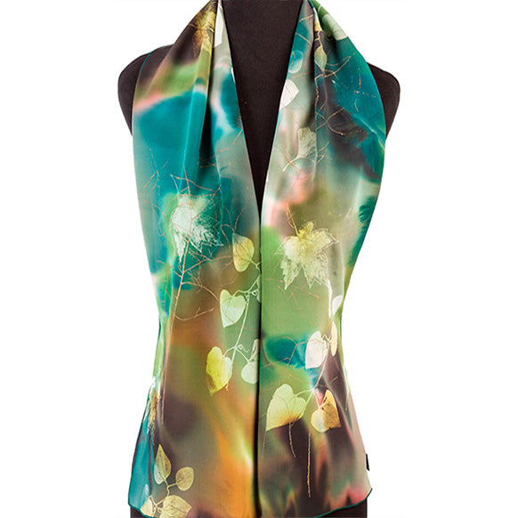 Hand-painted botanical design silk scarf