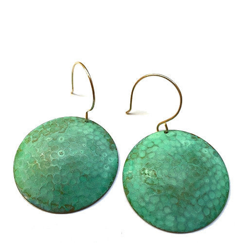 Melissa Lowery textured verdigris circles earrings