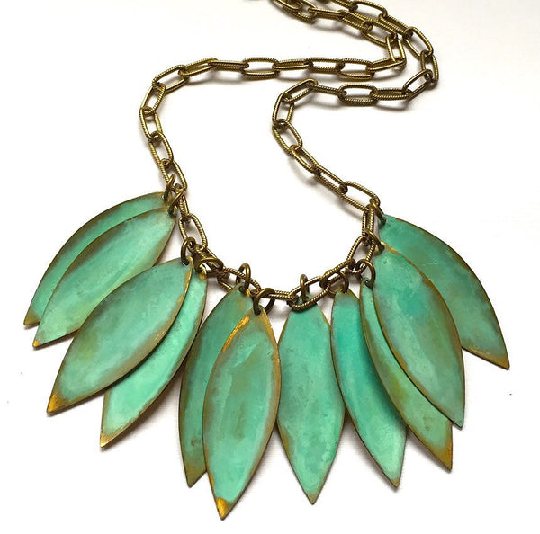 Melissa Lowery suspended verdigris leaves necklace