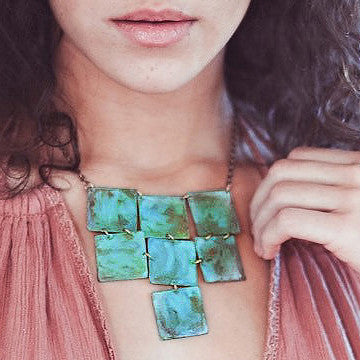 Linked verdigris squares necklace